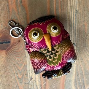 🦉LEATHER HAND TOOLED VIVID PURPLE OWL ZIP POUCH